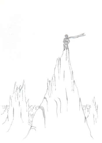 小王子爬上一座高山。